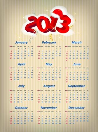 Vector Santa calendar 2013 year  week starts on Sunday Stock Vector - 16220964