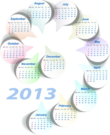 Vector calendar 2013  week starts on Sunday  Vector