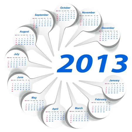 Vector calendar 2013  week starts on Sunday