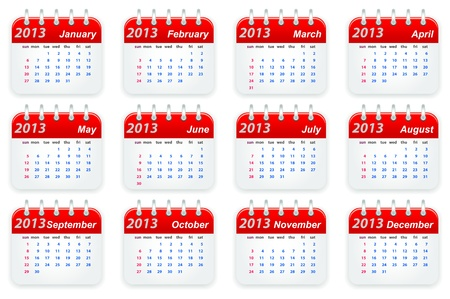 Calendar 2013 year week starts on sunday Illustration
