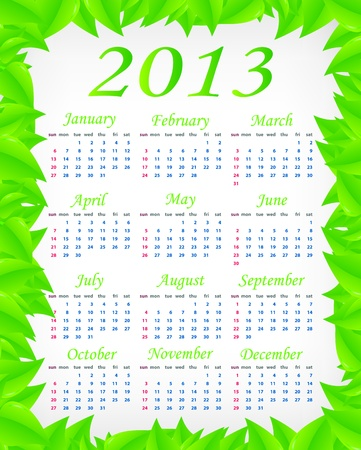 Vector green calendar  week starts on Sunday Stock Vector - 16220948