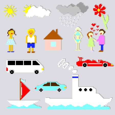 Set of pixel elements and cartoons vector Vector