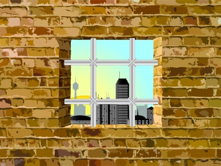 window display: view from the window with a lattice Illustration