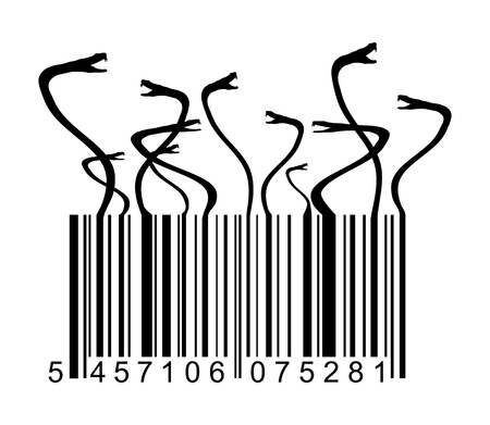 a snake in a bag: barcode with snakes