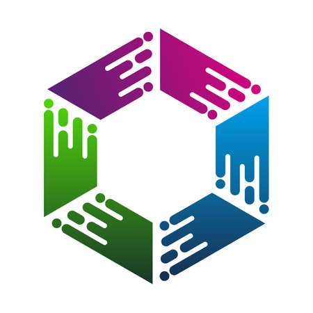 Hexagonal Data colorfull logo icon template, Data box fast technology logo template Ilustração