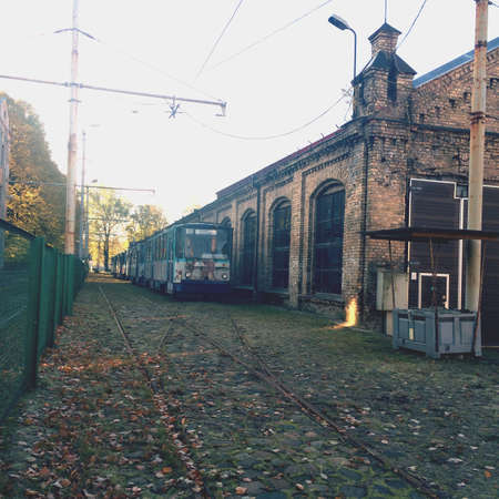 fence: Old tram station in Latvia, Riga Stock Photo