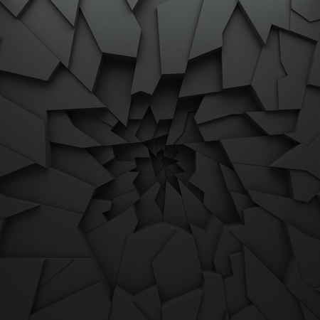 Geometric color abstract polygons, as crack wall. Interior room. The broken coal Stock Photo