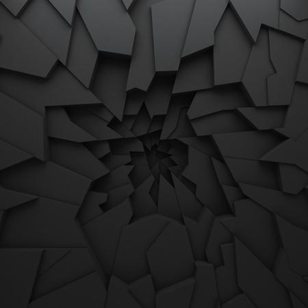Geometryczne abstrakcyjne kolorowe wielokąty, jak pęknięcia ściany. Wnętrze pokoju. Przerwane węgla