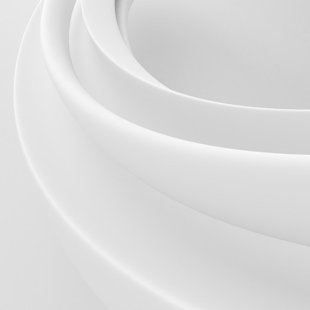 volumetric: White curves abstract wallpapers. Whirl volumetric background Stock Photo