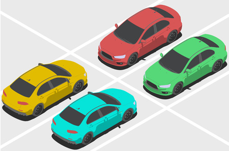changing color: isolated car for isometric world, with easy changing color