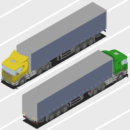 changing color: Truck with trailer for Isometric world, with easy changing color
