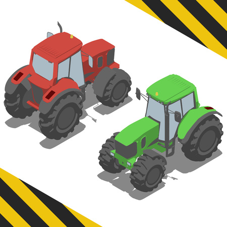 tractor farm: Tractor, farm machinery for Isometric world, with easy changing color Illustration