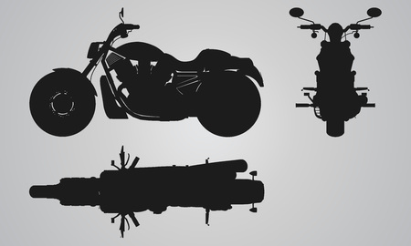 designing: Front, top and side chopper projection. Flat illustration for designing motorbikes icons