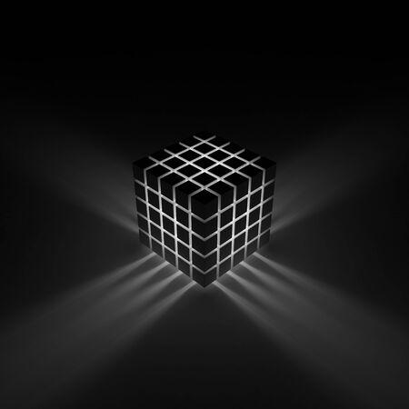 variance: Glowing cube. Rays shining through the cracks Stock Photo