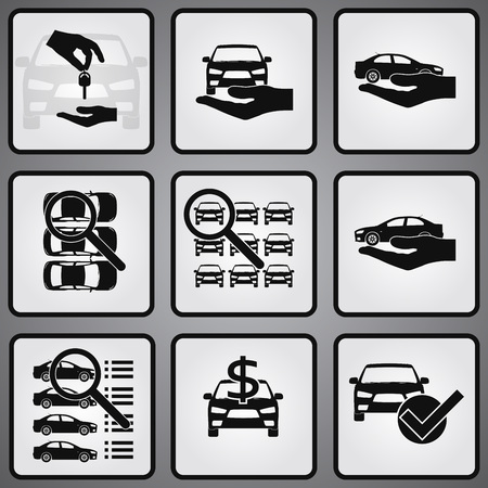 automobile dealership: Car dealership 9 icons set. Selling, buying and searching