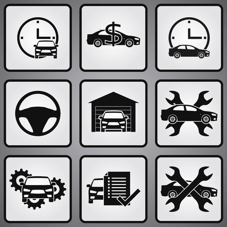 Car dealership 9 icons set. Selling, buying