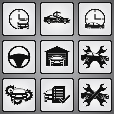 Car dealership 9 icons set. Selling, buying
