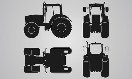 Front, back, top and side tractor projection. Flat illustration for designing icons, farm machinery