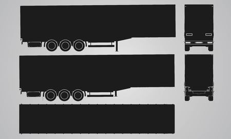 designing: Front, back, top and side semi trailer for truck projection. Flat illustration for designing icons