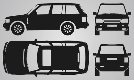 Anteriore, posteriore, superiore e la proiezione lato SUV. illustrazione piatto per la progettazione di icone Vettoriali