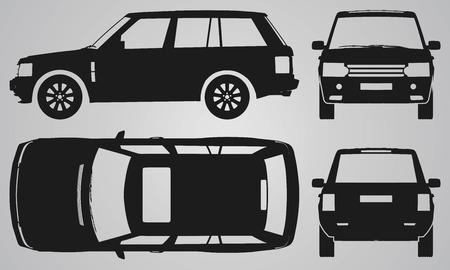 dessin au trait: Avant, arri�re, haut et projection de SUV de c�t�. illustration Appartement � la conception d'ic�nes