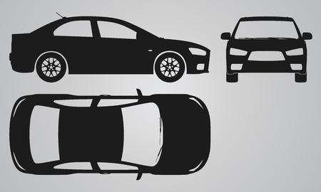 outline drawing: Front, top and side car projection. Flat illustration for designing icons Illustration