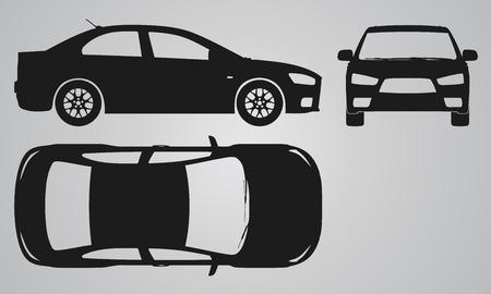 carro caricatura: Frontal, superior y proyección sidecar. Ilustración para el diseño de iconos plana