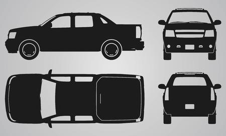 camion caricatura: Frente, atr�s, arriba y recogida lateral de proyecci�n cami�n. Ilustraci�n para el dise�o de iconos plana