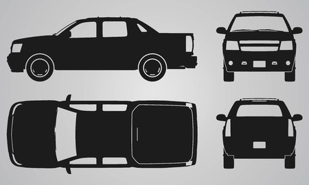 car side view: Front, back, top and side pickup truck projection. Flat illustration for designing icons