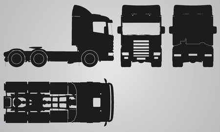 flank: Front, back, top and side truck without trailer projection. Flat illustration for designing icons