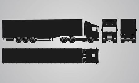 front wheel drive: Front, back, top and side truck with load trailer projection. Flat illustration for designing icons