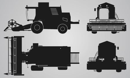designing: Front, back, top and side combine projection. Flat illustration for designing icons, farm machinery