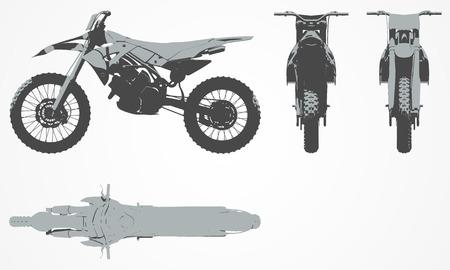 Voor-, boven- en zijkant motor projectie. Platte illustratie voor het ontwerpen van motorfietsen pictogrammen. Pop art, tweekleurige