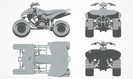 designing: Front, top, back and side quad bike projection. Flat illustration set for designing motorbikes icons