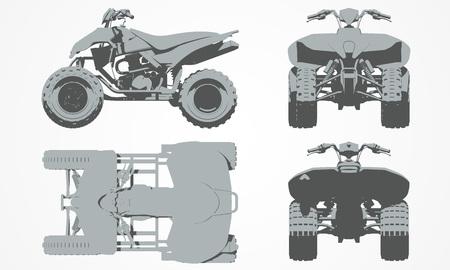 quad: Front, top, back and side quad bike projection. Flat illustration set for designing motorbikes icons