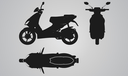 Front, top and side scooter projection. Flat illustration set for designing motorbikes icons Ilustração