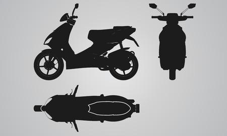 scooter: Frontal, superior y proyecci�n scooter de lado. Ilustraci�n conjunto plana para el dise�o de los iconos de motos
