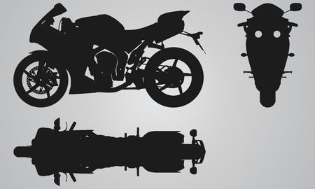 motorbike race: Front, top and side bike projection. Flat illustration set for designing motorbikes icons
