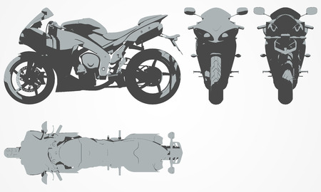 flank: Front, top, back and side chopper projection. Flat illustration set for designing motorbikes icons Vettoriali