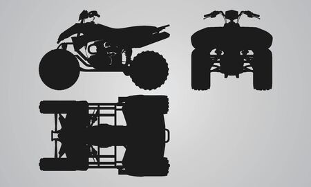 quad: Front, top and side quad bike projection. Flat illustration set for designing motorbikes icons