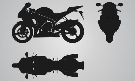 Frontal, superior y proyección moto lado. Ilustración determinada Piso en el diseño de motos iconos Foto de archivo - 48151797