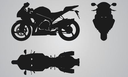 motor race: Voorzijde, boven- en zijkant fiets projectie. Flat illustratie set voor het ontwerpen van motorfietsen pictogrammen