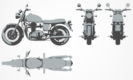 Front, top, back and side chopper projection. Flat illustration for designing motorbikes icons