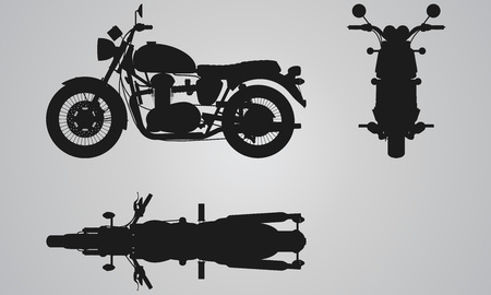 Front, top and side bike projection. Flat illustration for designing motorbikes icons Illustration