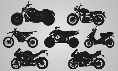 El conjunto de 7 lateral de proyección motos diferentes. Ilustración conjunto plana para el diseño de los iconos de motos Foto de archivo - 48151809