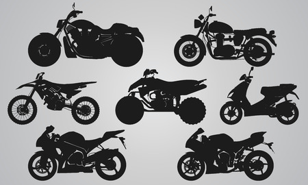 Set of 7 side different bikes projection. Flat illustration set for designing motorbikes icons Illustration