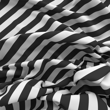 striped wallpaper: crumpled striped textile background. Black and white zebra wallpaper