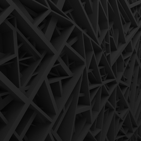 Black geometric color abstract polygons, as extruded cells. Interior room