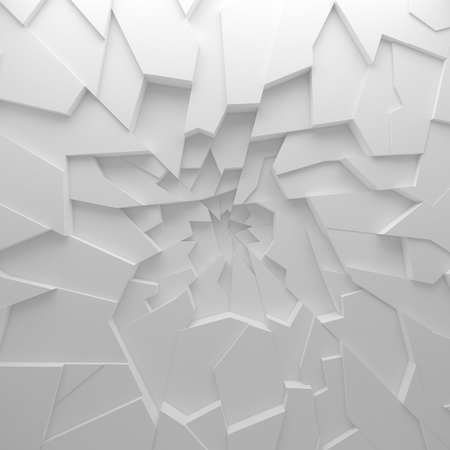 Geometric color abstract polygons wallpaper, as crack wall. Interior room, chasm, abyss