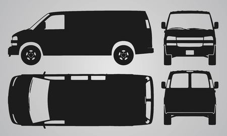front side: Front, back, top and side van car projection. Flat illustration